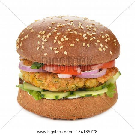 Vegetarian burger on a white background close up