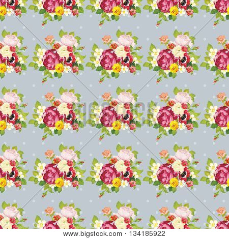 Seamless floral pattern with peony Vector Illustration EPS8
