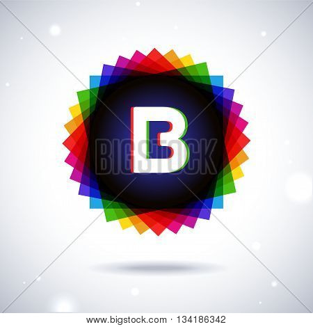 Spectrum logo icon with shadow and particles. Letter B