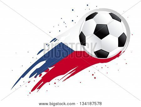 Vector illustration of a soccer ball with abstract Czech Republic insignia brush strokes