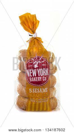 SWINDON UK - JUNE 3 2016: Five Pack of New York Bakery Co Sesame Bagels on a White Background