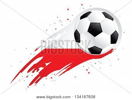 Vector illustration of a soccer ball with abstract Poland insignia brush strokes