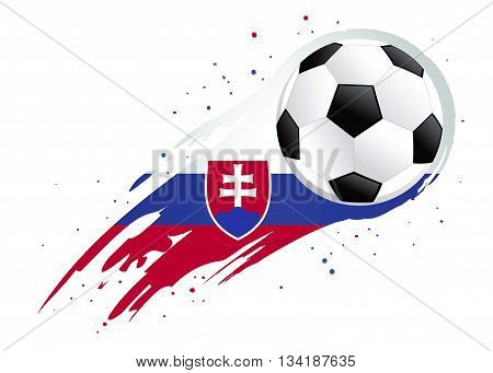 Vector illustration of a soccer ball with abstract Slovakia insignia brush strokes