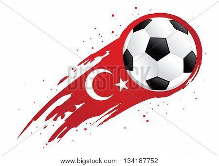 Vector illustration of a soccer ball with abstract Turkey insignia brush strokes