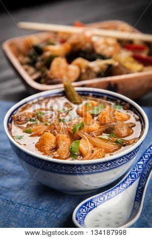 Asian shrimp soup and rice