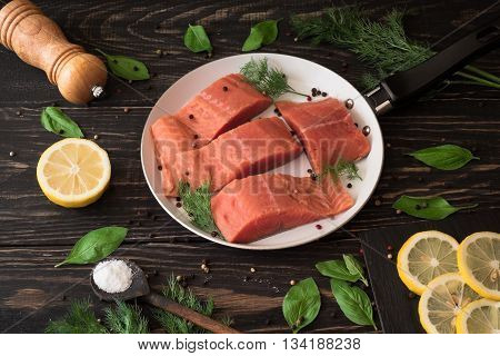 Salmon Fillet On Rustic Kitchen Table