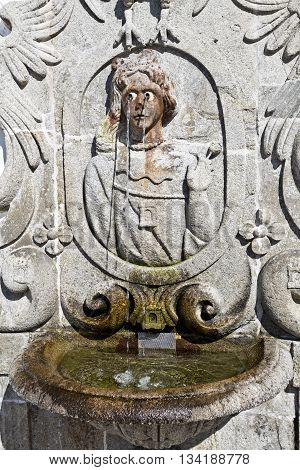 Detail of a water fountain along the stairway leading to the Basilica of Bom Jesus (Good Jesus) in Braga Portugal