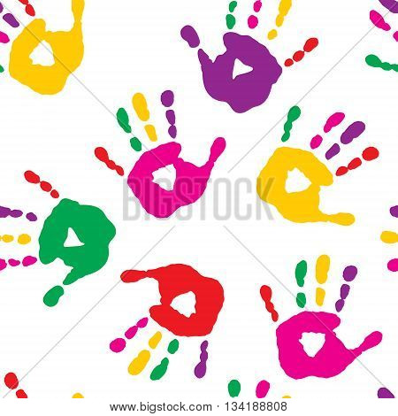 Colorful Hand Prints On White Background