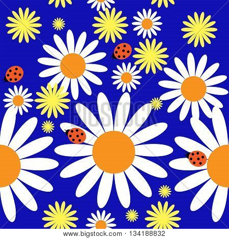 Pattern with a different daisies and ladybirds