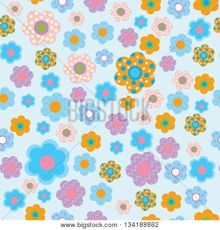 Seamless floral pattern in a children's style