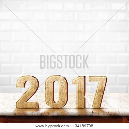 2017 Year Wood Texture On Marble Table With White Ceramic Tile Wall,holiday Concept. Leave Space For