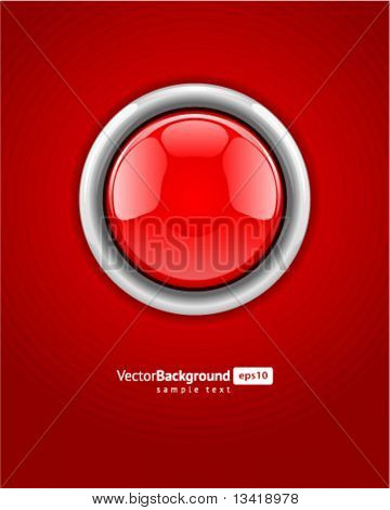 Red alarm vector shiny button background