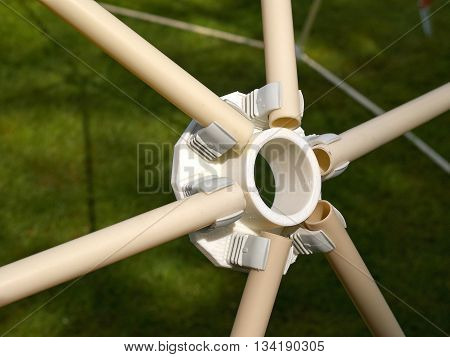 Details of geodesic dome roof structure made of modern design plastic parts