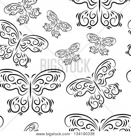 Seamless background with a different cute beautiful butterflies