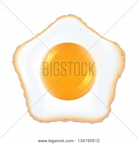 painting Fried egg on white background, vector
