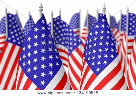 Many Small American Flags, Selective Focus