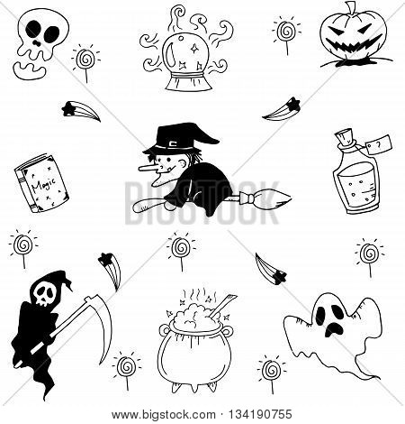 Element halloween doodle hand draw collection stock