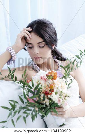 Beautiful bride in wedding dress