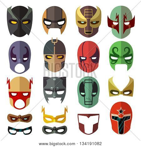 Superhero masks. Heroic costume mask of set and cartoon mask for superhero. Vector flat collection