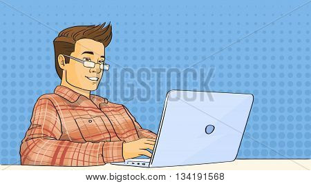Casual Man Work Laptop Computer Pop Art Colorful Retro Style Vector Illustration