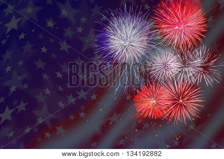 Celebration fireworks over American flag background. 4th of July beautiful fireworks. Veterans Day fireworks. Independence Day holidays salute.