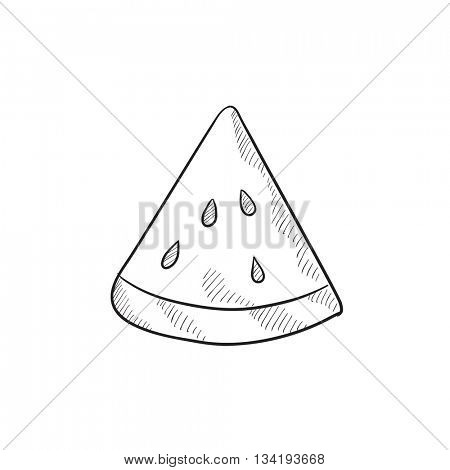 Watermelon vector sketch icon isolated on background. Hand drawn Watermelon icon. Watermelon sketch icon for infographic, website or app.