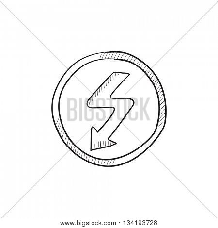 Lightning arrow downward vector sketch icon isolated on background. Hand drawn Lightning arrow downward icon. Lightning arrow downward sketch icon for infographic, website or app.