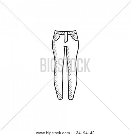 Female jeans vector sketch icon isolated on background. Hand drawn Female jeans icon. Female jeans sketch icon for infographic, website or app.