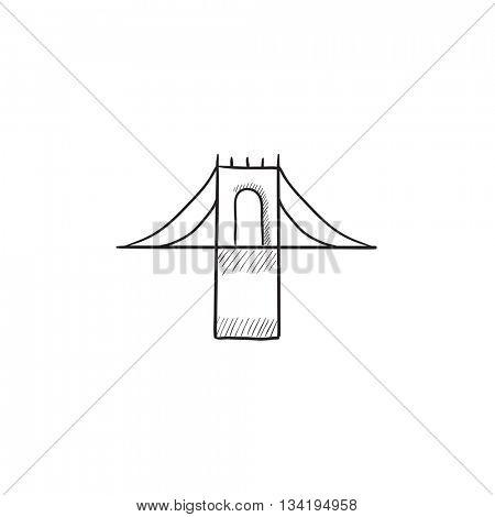 Bridge vector sketch icon isolated on background. Hand drawn Bridge icon. Bridge sketch icon for infographic, website or app.