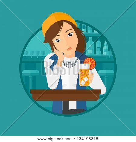 A sad woman sitting at the bar with glass of orange cocktail. Woman sitting alone at the bar and drinking orange cocktail. Vector flat design illustration in the circle isolated on background.