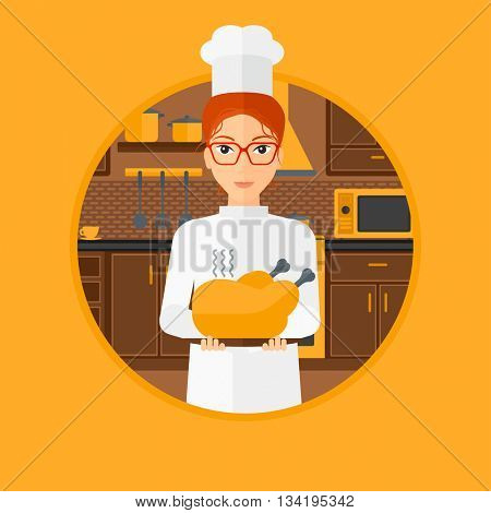 Chief cooker holding roasted chicken in the kitchen. Chief cooker with whole baked chicken. Chief cooker with fried chicken. Vector flat design illustration in the circle isolated on background.