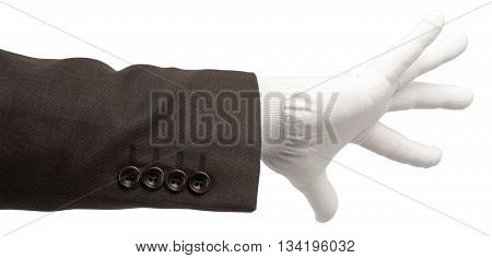 Business man hand in glove isolated on white background, closeup