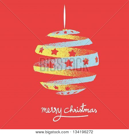 Vector : Vintage Style Of Christmas Tree On Red Background With Merry Christmas Word