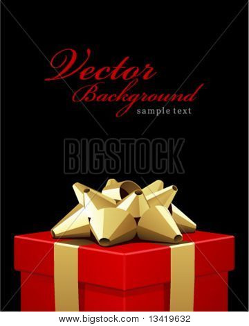 Valentines Day or wedding red gift box present with gold bow celebration vector background