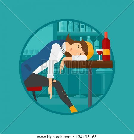 A drunk woman deeply sleeping near the bottle of wine and glass on table. Drunk woman sleeping in bar. Alcohol addiction concept. Vector flat design illustration in the circle isolated on background.