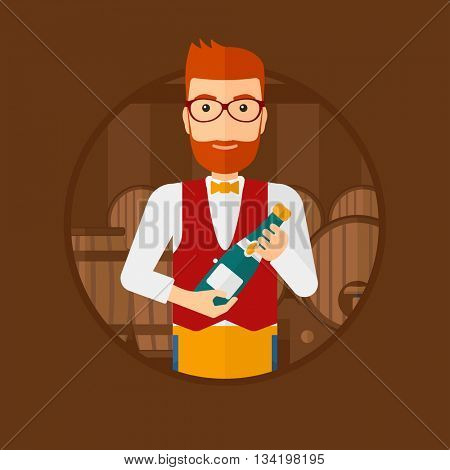 A hipster waiter with the beard standing in wine cellar. Waiter with bottle in hands standing on the background of wine barrels. Vector flat design illustration in the circle isolated on background.