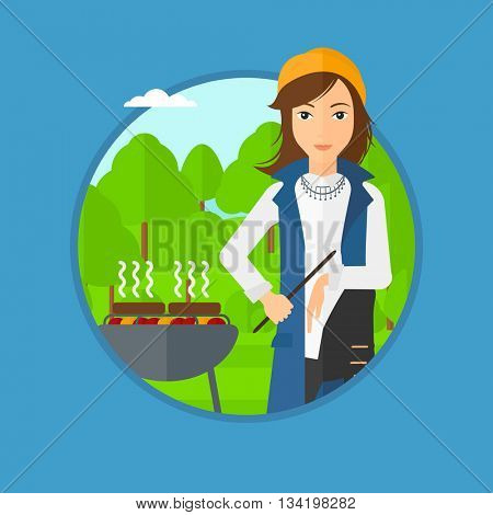 A young woman sitting next to barbecue grill in the park. Woman cooking meat on the barbecue grill. Woman having a barbecue party. Vector flat design illustration in the circle isolated on background.
