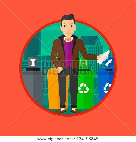 Man throwing away plastic bottle. Man standing near four bins in the city and throwing away plastic bottle in an appropriate bin. Vector flat design illustration in the circle isolated on background.