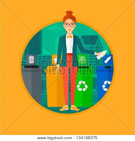 Woman throwing away plastic bottle. Woman standing near four bins in city and throwing away plastic bottle in an appropriate bin. Vector flat design illustration in the circle isolated on background.