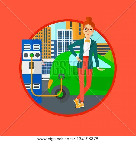 A woman charging electric car at charging station in the city. Woman standing near power supply for electric car charging. Vector flat design illustration in the circle isolated on background.