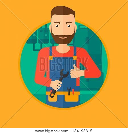 A hipster repairman with a spanner in hand. A repairman giving thumb up. A repairman at domestic household boiler room. Vector flat design illustration in the circle isolated on background.