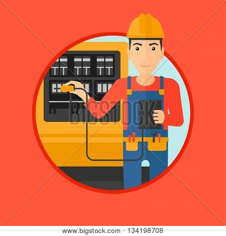 A man in helmet measuring the voltage output. Young electrician with electrical equipment standing in front of switchboard. Vector flat design illustration in the circle isolated on background.