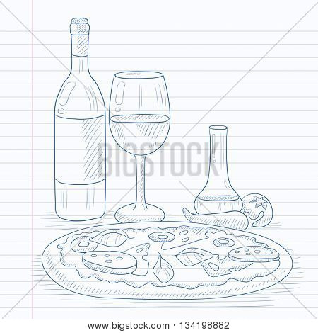 Pizza with bottle of wine and a glass. Pizza hand drawn on notebook paper in line background. Pizza vector sketch illustration.