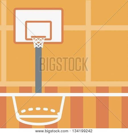 Background of basketball court. Basketball arena vector flat design illustration. School basketball court. Sport concept. Square layout.