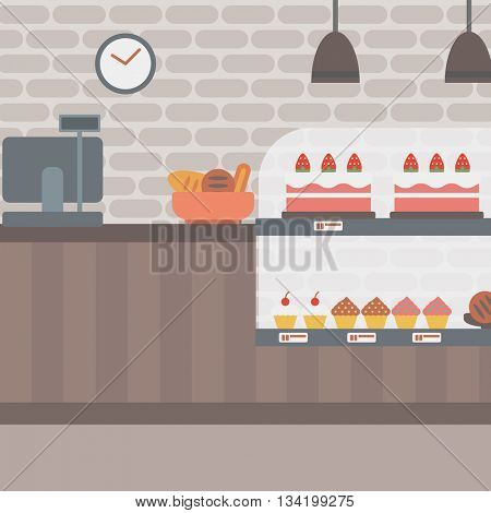Background of bakery. Bakery shop interior. Bakery counter full of bread and pastries vector flat design illustration. Square layout.