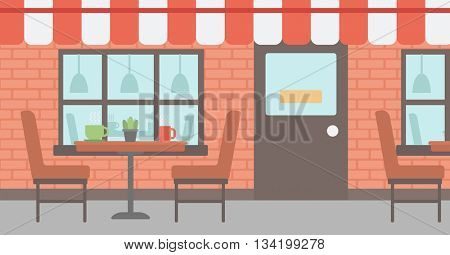 Background of street cafe. Cafe on the street with table and chairs vector flat design illustration. Outdoor cafe. Horizontla layout.