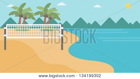 Background of beach volleyball court at the seashore. Volleyball net on the beach. Sport concept. Horizontal layout.