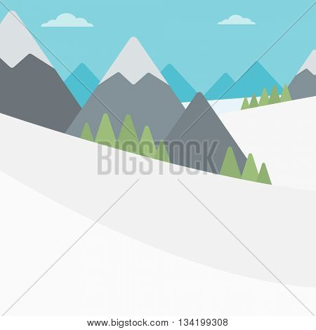 Background of snow capped mountain. Landscape with mountain peaks vector flat design illustration. Outdoors extreme sports concept. Square layout.