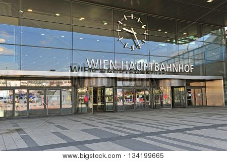 VIENNA AUSTRIA - JUNE 6: View of railway station with the german sign «Vienna railway station» in Vienna on June 6 2016. Vienna is the capital and largest city of Austria.