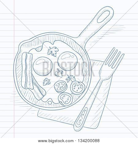 Fried eggs with bacon on frying pan. Fried eggs with bacon hand drawn on notebook paper in line background. Fried eggs with bacon vector sketch illustration.